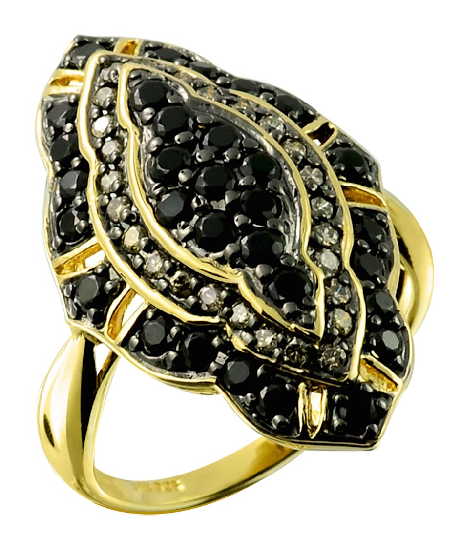 1.29 Carats Black Onyx with Champagne Diamond Gold-Plated 925 Sterling Silver Cluster Ring (7)