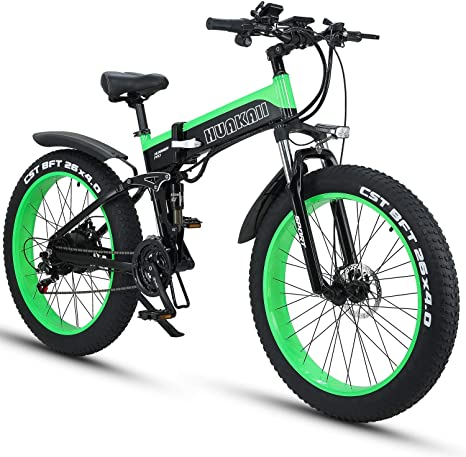 26 inch Electric Mountain Bike 4.0 Fat Tires eBike 1000W 48V 16Ah Lithium Battery Full Suspension Hydraulic Disc Brake 21-speed Electric Bicycle for Adults Color : Black green