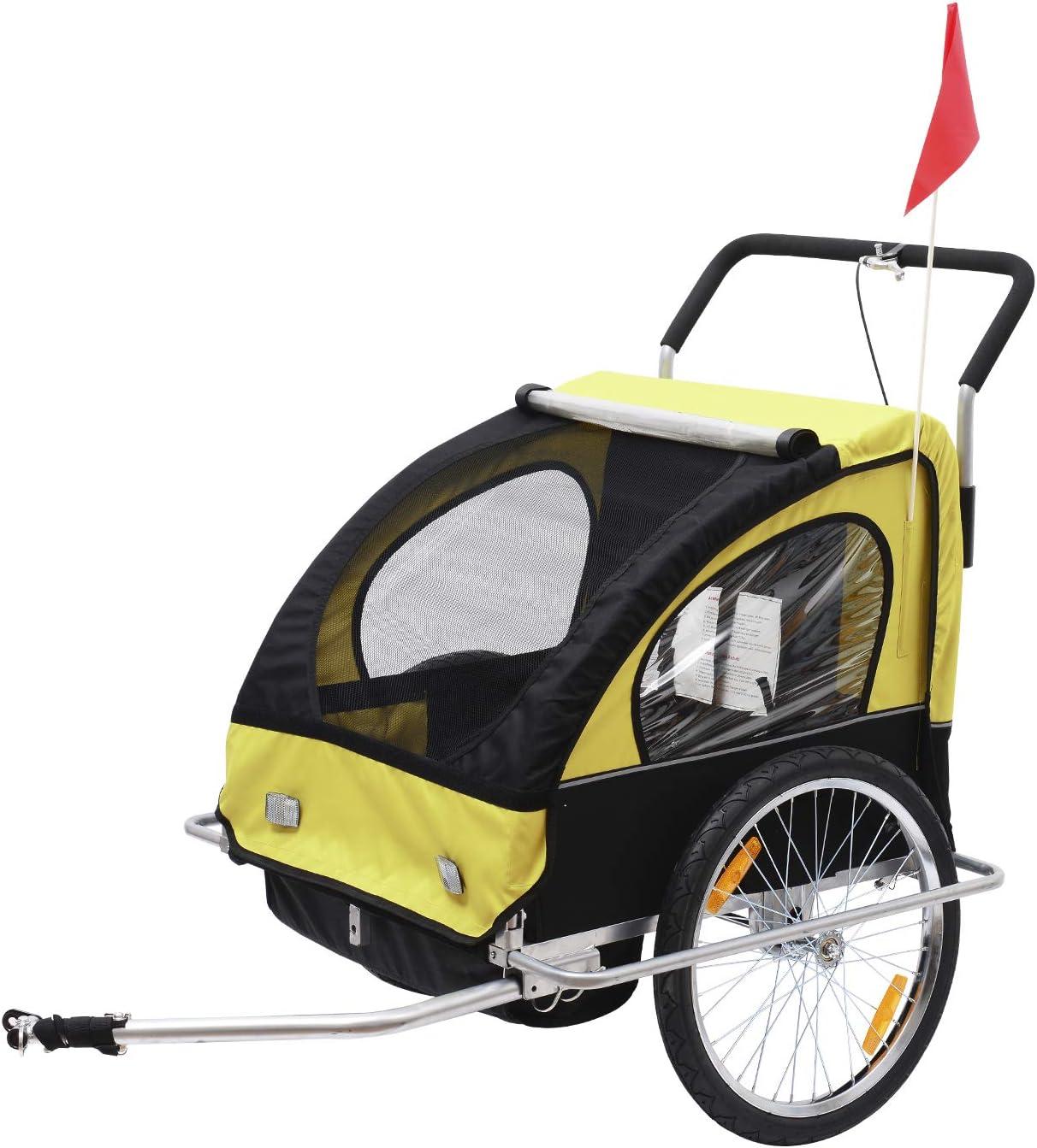 HOMCOM Remolque para Niños DOS PLAZAS con Amortiguadores Carro para Bicicleta CON BARRA INCLUIDA y Kit de Footing COLOR AMARILLO Y NEGRO