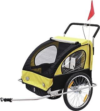 Remolque para Niños DOS PLAZAS con Amortiguadores Carro para Bicicleta