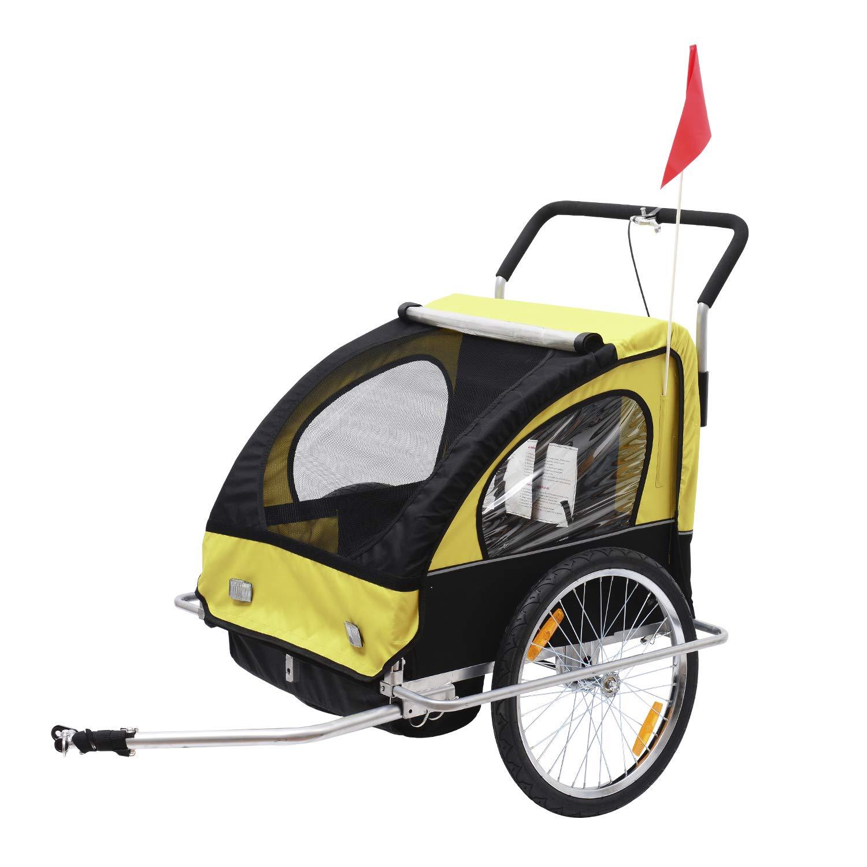 Remolque para Niños Dos PLAZAS con Amortiguadores Carro para Bicicleta con Barra INCLUIDA y Kit de