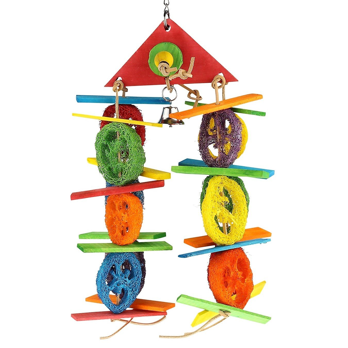 SMiLEiZE Bird Toy Colorful Loofah Leather Wood and Hanging Bell for Medium Birds. A Great Chewing Parrot Cage Bird Toys for Cockatoo African Grey Cockatiel and other Amazon Birds