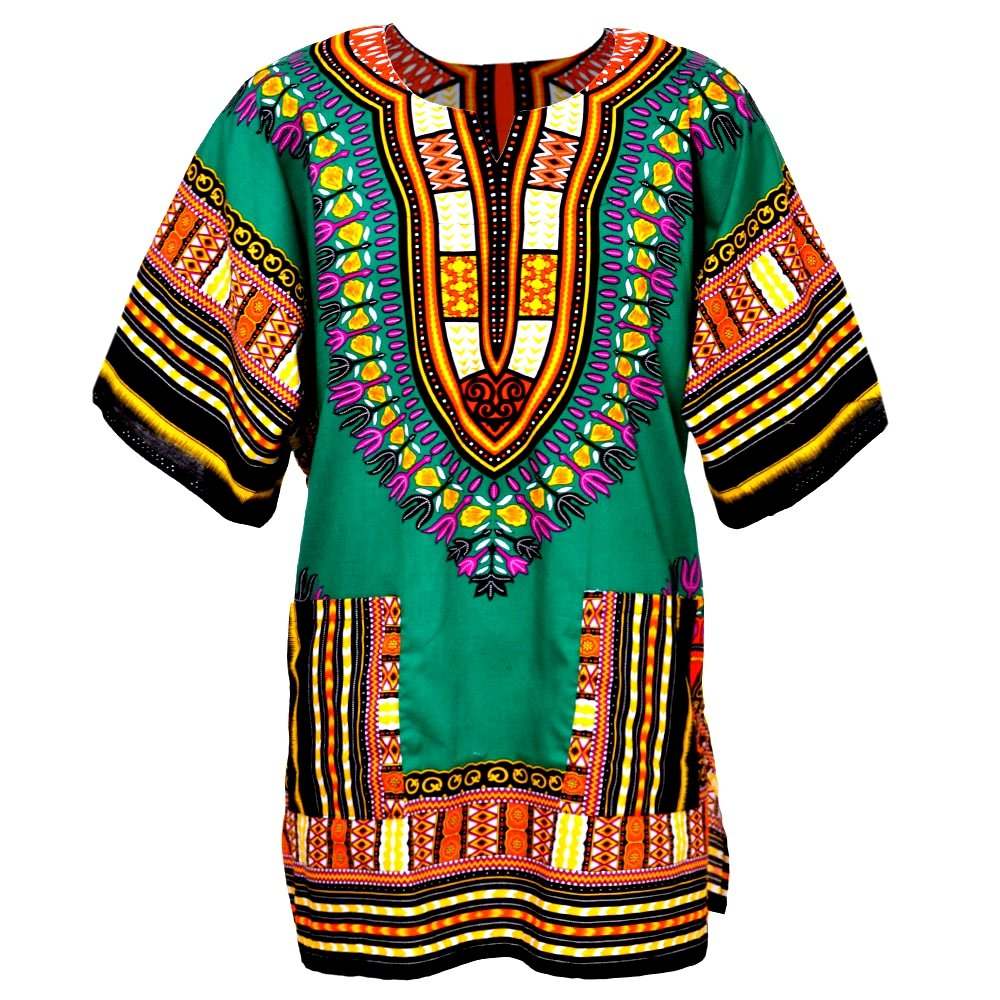 Traditional African Dashiki Cotton Shirt – Tribal Hippie Style- Variety Colors Perfect for Festival- Craft Clothes -Mens, Womens, Unisex (X-Large, Green)