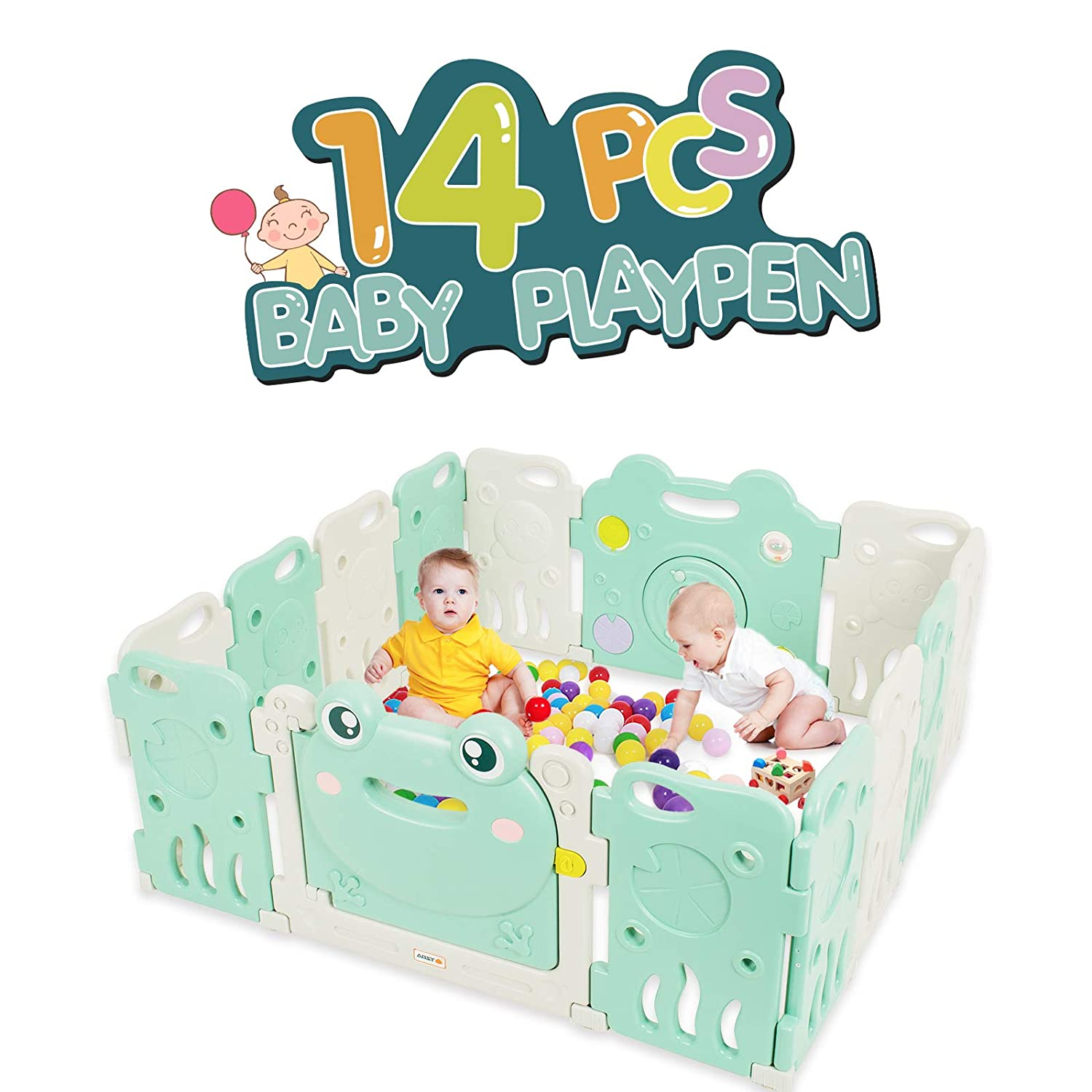 Baby Playpen - Kids 14 Panel Activity Centre Safety Play Yard, Home Indoor Outdoor New Pen - Frog Design TCBUNNY BPYFROG14