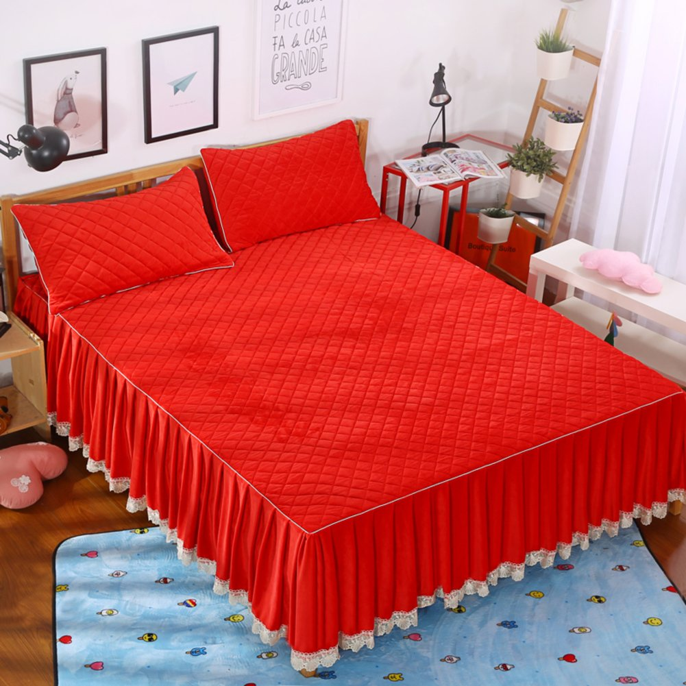 GX&XD Bed Skirt Bedspread Keep Warm Quilted Thicken Single Plus Cotton Flannel-F 180x200cm(71x79inch) Version A