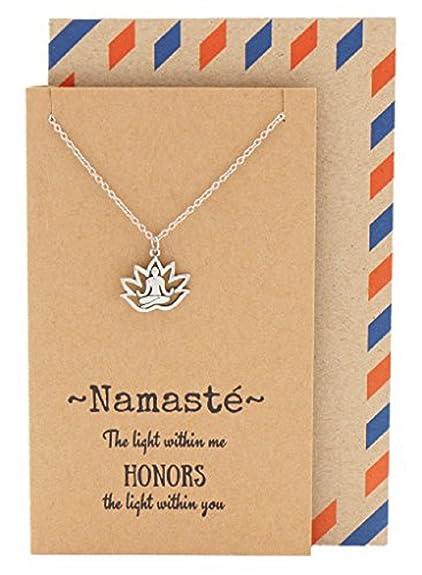 Quan Jewelry Namaste Lotus Pose Necklace Yoga Pendant Birthday Gift Ideas For Mom Girl
