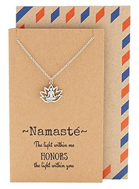 Quan Joyas Namaste Lotus Pose Collar, Yoga Colgante Regalo ...