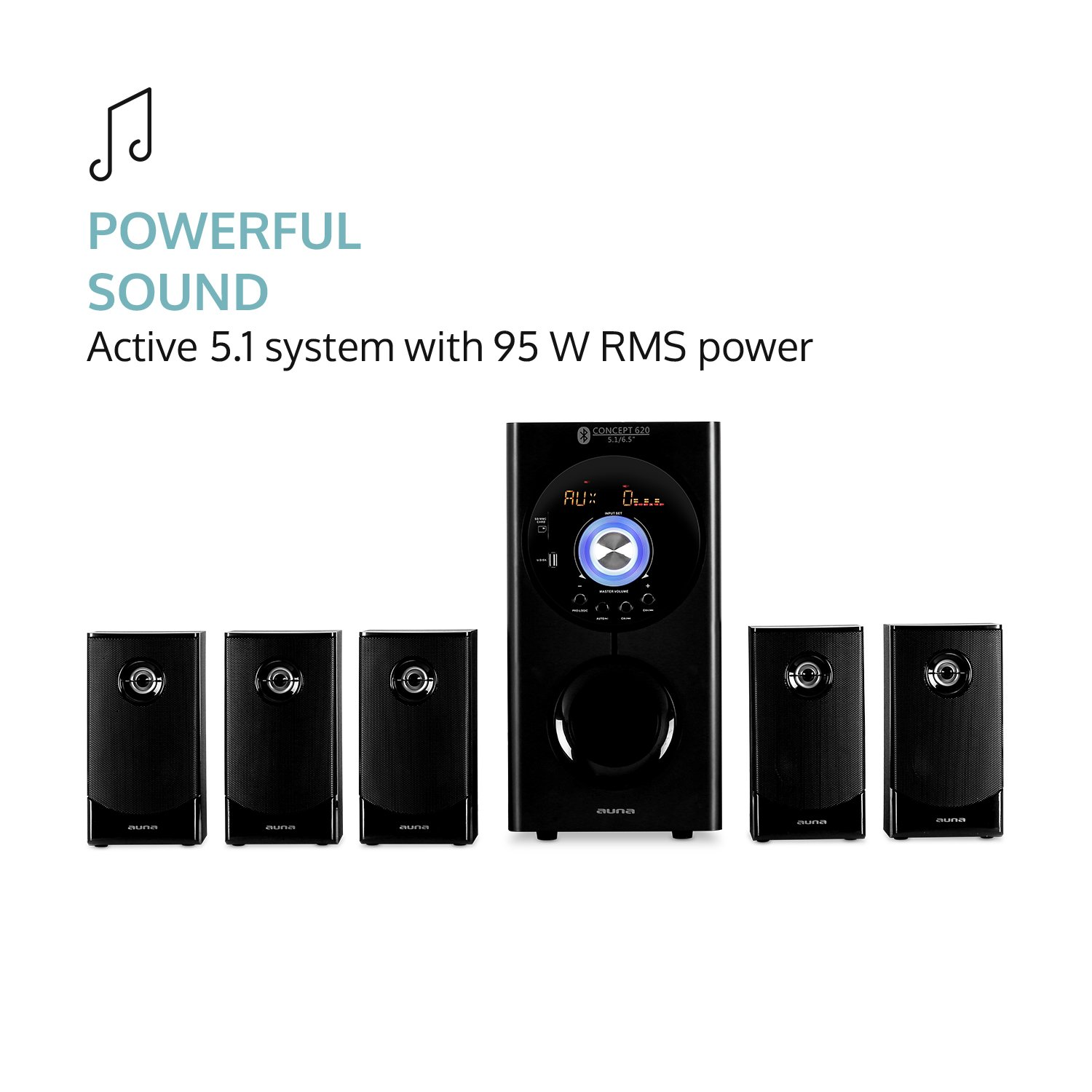 Auna Concept 620 51 Channel Home Theater System Connection Diagram On 5 1 Surround Sound Setup Simple Bluetooth Subwoofer Satellite Speakers Usb Port Aux Remote Control Up To 200