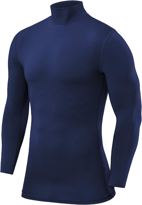 Blau Blueprint PowerLayer Herren Kompressionsshirt//Funktionsshirt mit Stehkragen Langarm L