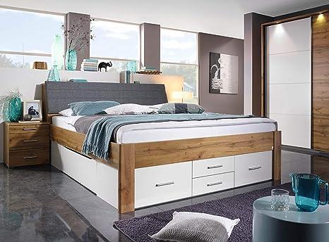 Lifestyle4living Bett In Eiche Dekor Und Weiß 180x200 Cm