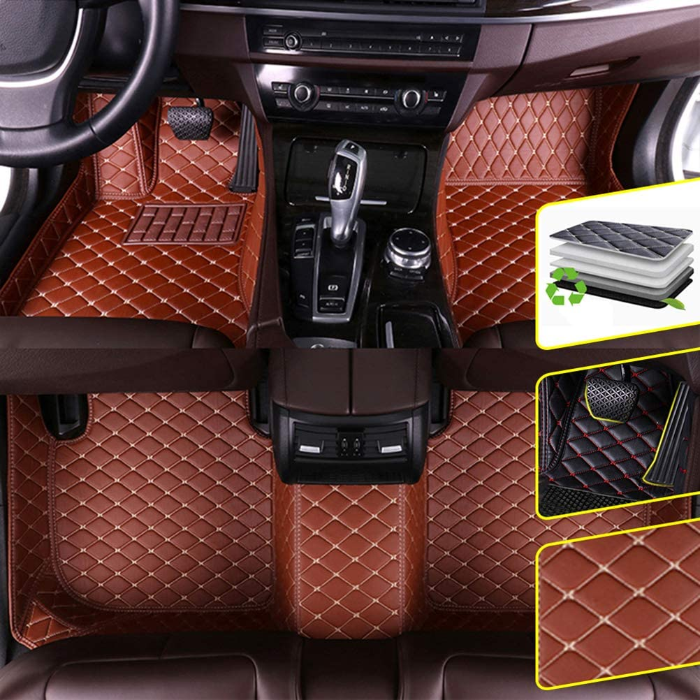 DBL Custom Car Floor Mats for Benz GLK Class 2008-2014 Waterproof Non-Slip Leather Carpets Automotive Interior Accessories Brown 1 Set