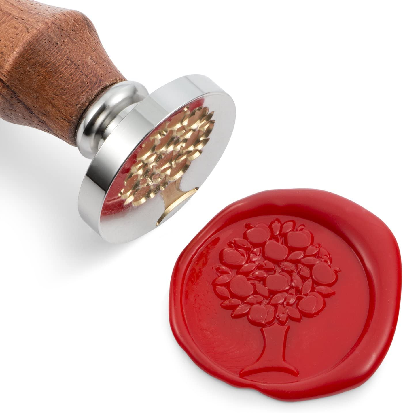 Mceal Wax Seal Stamp, Silver Brass Head with Wooden Handle, Apple Tree