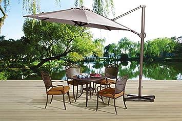 SORARA Roma Cantilever Sombrilla Voladiza de Jardín con Base Cruzada | Arena | 3.3 m: Amazon.es: Jardín