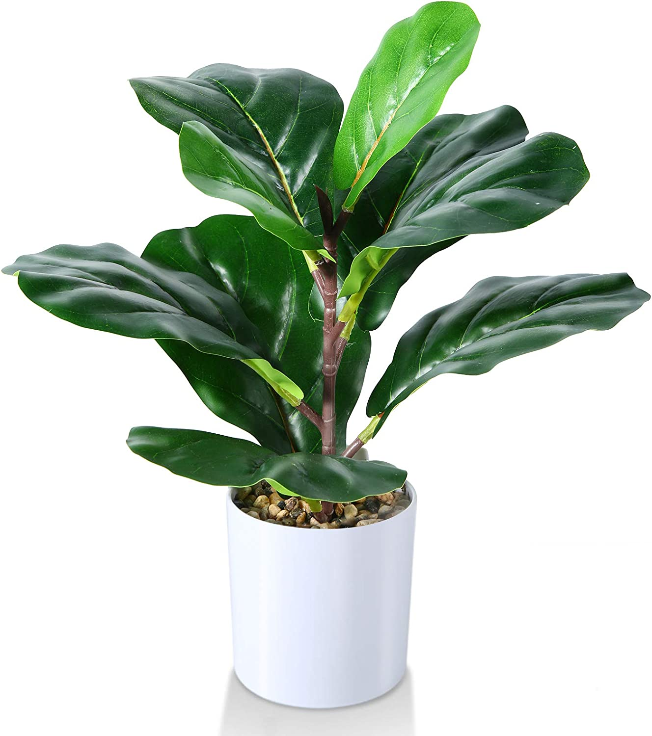 Kazeila Small Artificial Fiddle Leaf Fig Tree 16 Inch Fake Ficus Lyrata Plant,Faux Desk Plant in Pot for for Indoor Outdoor Home Office Any Room Decor,Perfect Housewarming Gift