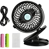 VIPITH Battery Operated Clip on Stroller Fan, 360 Degree Rotation Mini Portable Desk Fan with Two Rechargeable Batteries for Baby Stroller, Crib, Car Seat, Treadmill, Office and Outdoor Activities