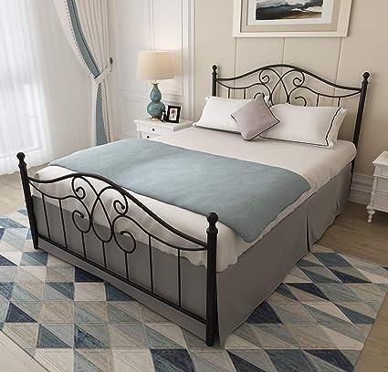 Keelaning - Marco de cama de metal con cabecero y estribo para cama básica, no necesita somier, tamaño queen, color negro