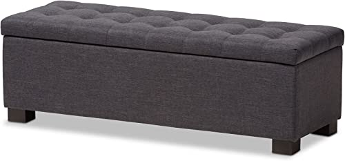 Baxton Studio Orillia Modern and Contemporary Dark Grey Fabric Upholstered Grid-Tufting Storage Ottoman Bench