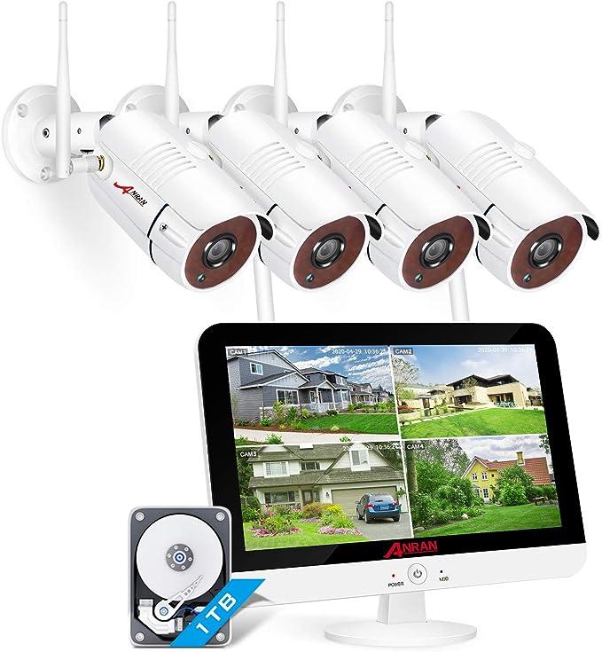 【3MP with Audio】 Conjunto de Cámara de Vigilancia WiFi con Monitor LCD de 13 Pulgadas, ANRAN 8CH 1536P Kits de DVR de Vigilancia WiFi con Cámaras IP ...
