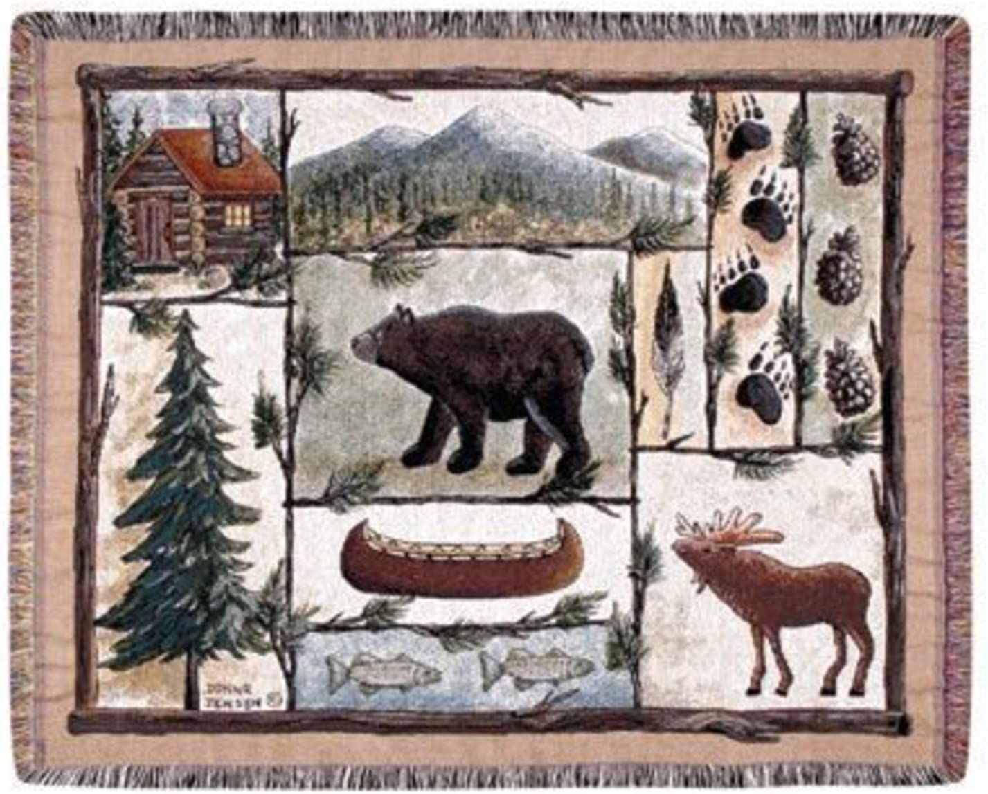 """Simply Home Cabin Fever Moose Bear Lodge Tapestry Throw Blanket 50"""" x 60"""" USA Made SKU TPM772"""