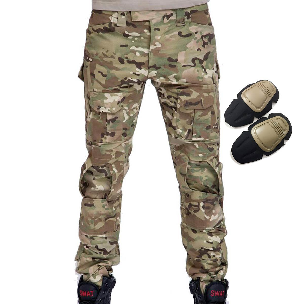 Military Army Tactical Airsoft Paintball Shooting Pants Combat Men Pants with Knee Pads Multicam MC (S)