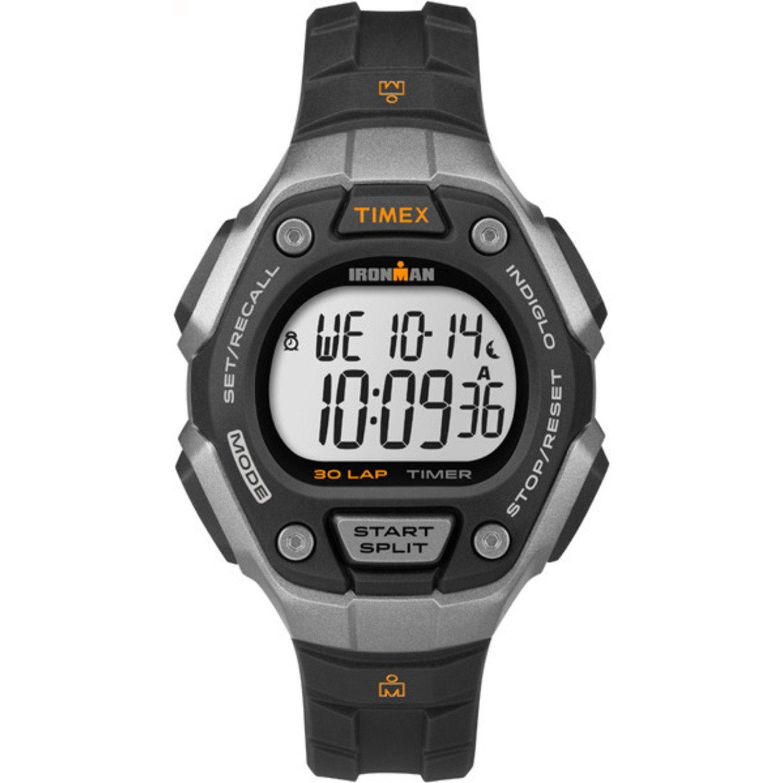 Timex Women's Ironman 30-Lap Digital Quartz Mid-Size Watch, Black/Silver-Tone/Orange - TW5K89200 by Timex