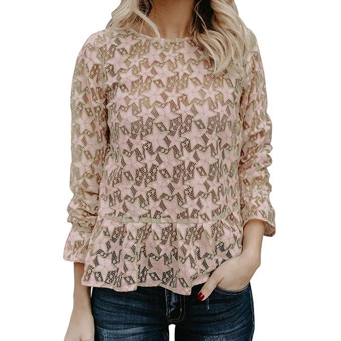 ❤ Blusas Elegantes de Mujer,Modaworld Moda Camiseta de Tirantes Sexy Estrella de Encaje de Mujer Camisa de Manga Larga Blusa de túnica Camisas Basica ...