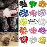 Johomoon 100Pcs Colorful Cats Paws Grooming Nail Claw Cap + 5Pcs Adhesive Glue + 5Pcs Applicator Soft Rubber Pet Nail Cover