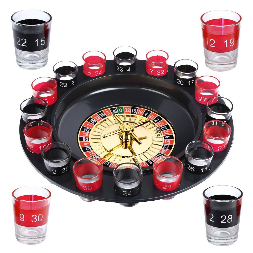 Evelots Drinking Game Glass Roulette W/2 Balls & 16 Shot Glasses, Casino Style SO 5216
