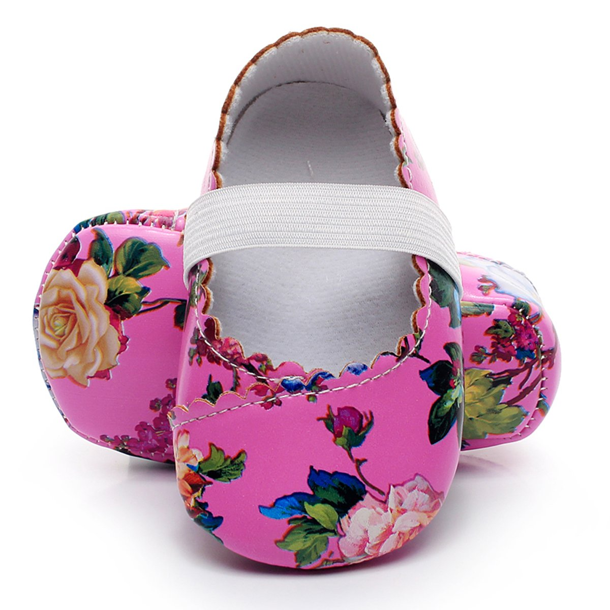 HONGTEYA Print Flower Baby Girls Ballet Princess Dress Shoes Mary Jane Toddler Shoes Flats Baby Sandals