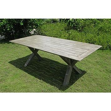 Tisch Kross 220 X 100 Grau Akazie Massiv Für Außen Und Garten