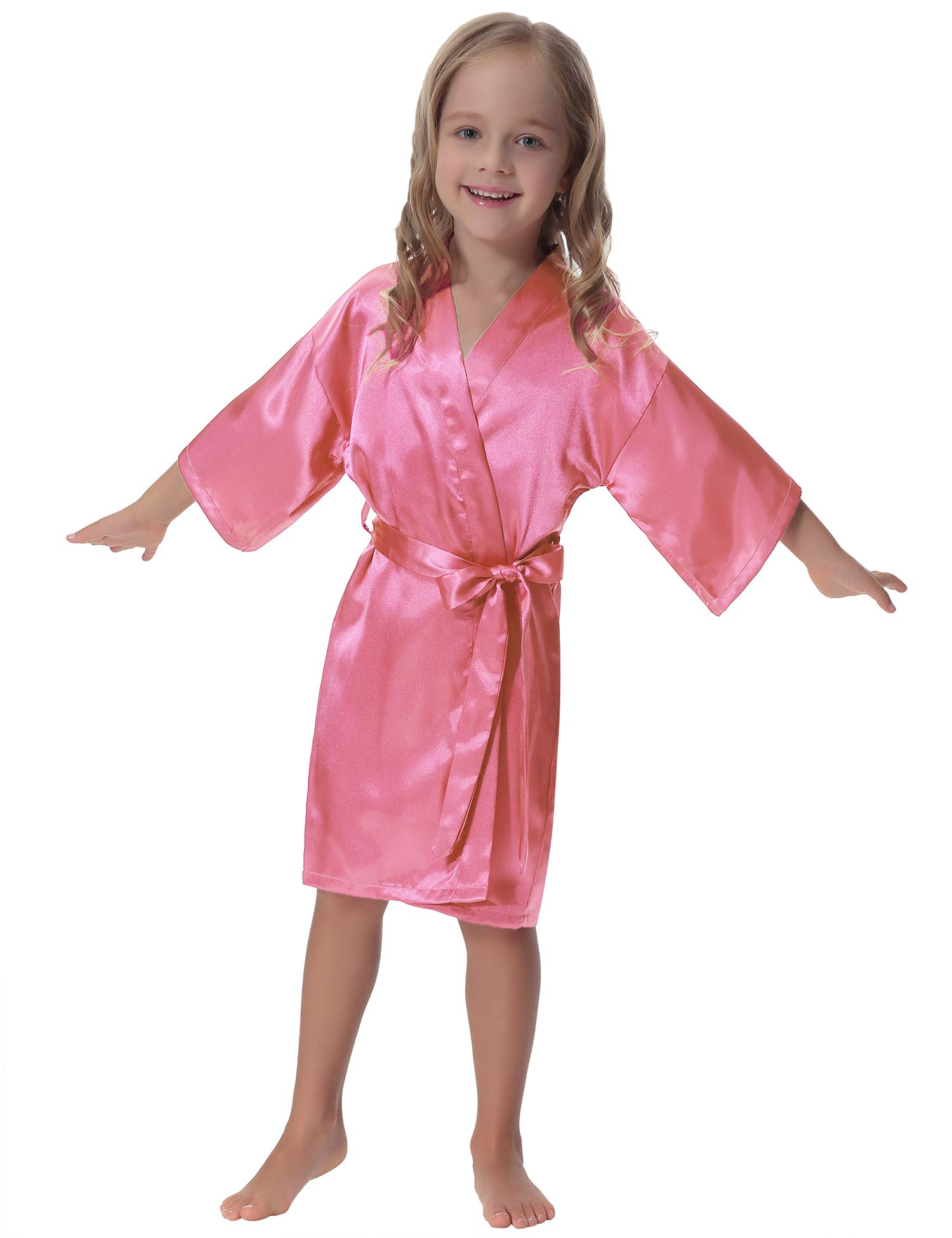 Aibrou Kids Satin Kimono Robe Bathrobe Nightgown for Spa Party Wedding Birthday