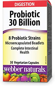 Webber Naturals Probiotic 30 Billion, 8 Probiotic Strains, 30-Capsules