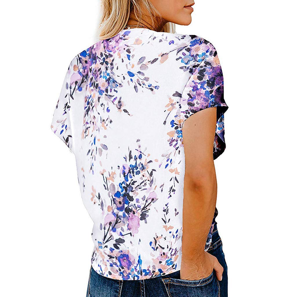 Blouses Women TUDUZ Ladies Summer Elegant Printed Short Sleeve Button V-Neck Tie Knot Tops Shirt