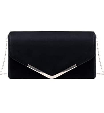a85b301653f Tom Clovers Classic Wedding Evening Party Velvet Clutch Bag Envelope Handbag  Black
