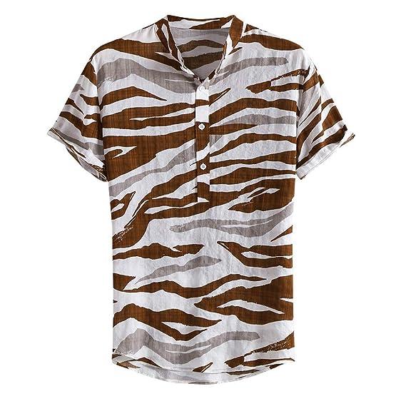 Polos Manga Corta Básico Botones Camisa Hawaiana Hombre Camiseta ...