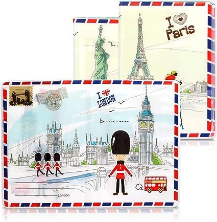 nero//multicolore kwmobile 3x Custodia per Passaporto Set Bustine in Plastica a Protezione per Documenti Porta Passaporto in Design