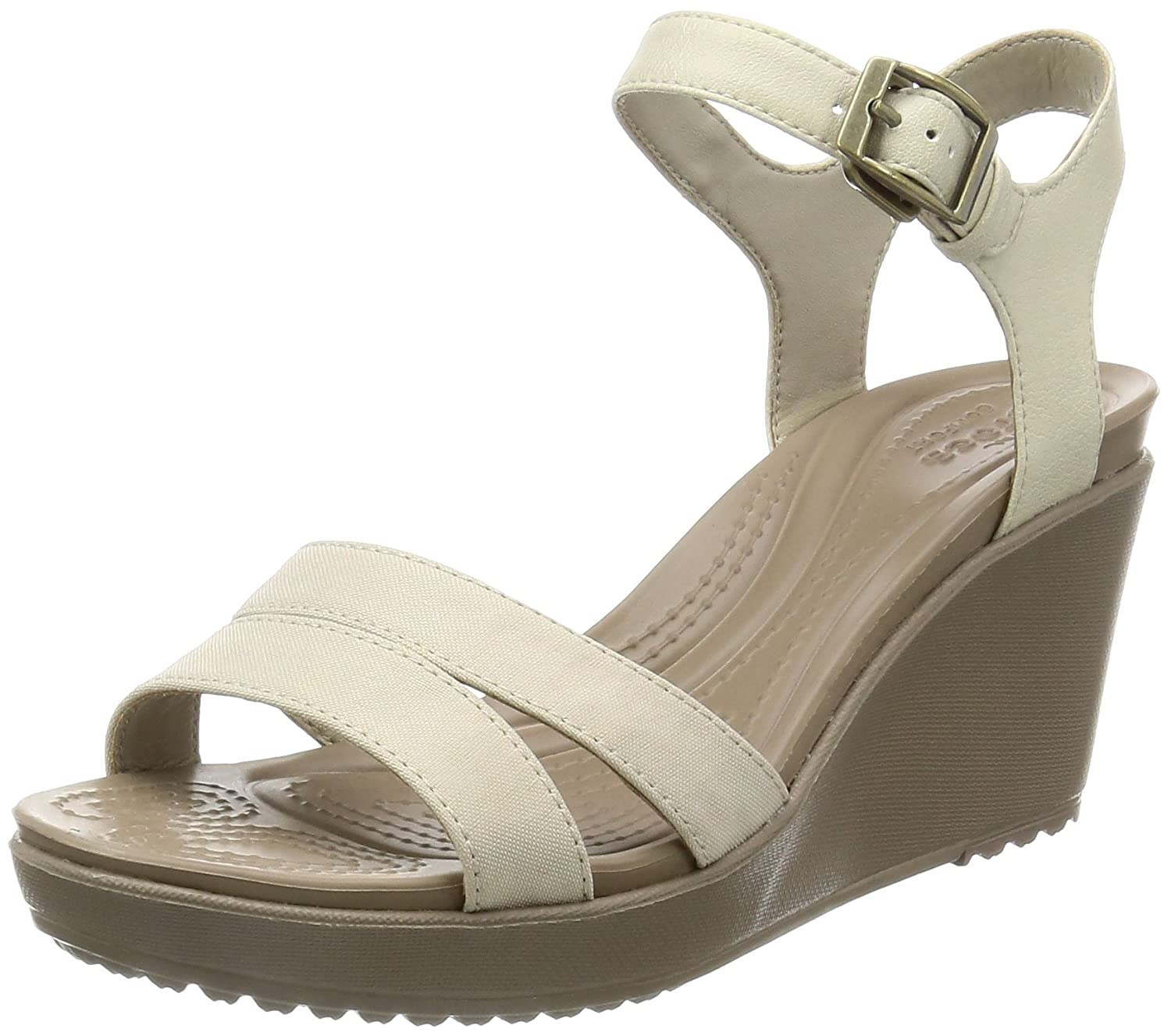 Oatmeal Khaki crocs Women's Leigh II Ankle Strap W Wedge Sandal