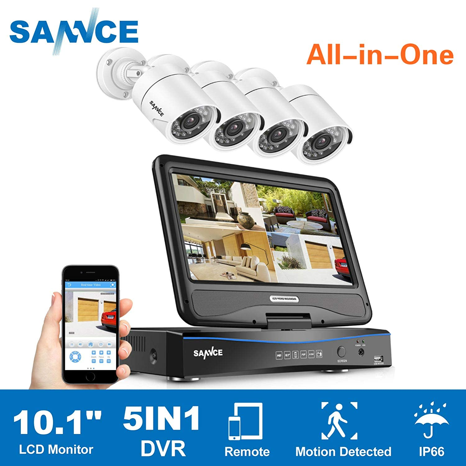 True All-in-One Home Security Camera System with Built-in 10.1 LCD Monitor,SANNCE 4CH 720P Surveillance DVR Recorder with 4Pcs Outdoor 66ft Night Vision Cameras, Easy Remote Access No HDD Included