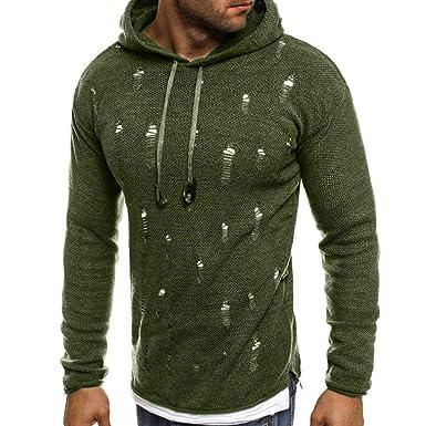 Yvelands Suéter de Punto de Punto Hombres Suéter de otoño Invierno sólido con Agujeros Rasgados Sudadera con Capucha Superior: Amazon.es: Ropa y accesorios