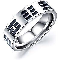 Rockyu メンズ 指輪 シンプル チタン シルバー 宗教 アンティーク風 幅広 お守り リング 2号