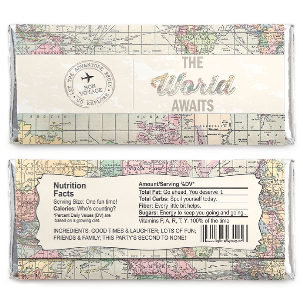 Candy wrappers to print world map worksheet coloring pages amazon com world awaits travel themed candy bar wrappers party do yourself candy wrappers template candy wrappers to print world map gumiabroncs Choice Image