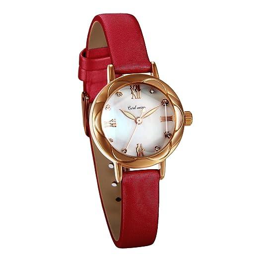 JewelryWe Reloj de Pulsera para Mujer Cuerzo, Correa de Cuero Retro Vintage Relojes de Chicas, Numeros Romanos Esfera Pequeña Rojo 2017: Amazon.es: Relojes