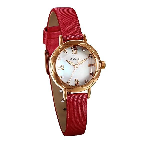 JewelryWe Reloj de Pulsera para Mujer Cuerzo, Correa de Cuero Retro Vintage Relojes de Chicas