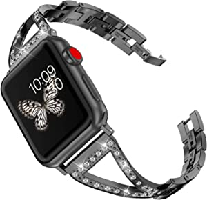 Wearlizer Black Bling Womens Compatible with Apple Watch Band 40mm 38mm for iWatch SE Wristband Jewelry Stainless Steel V-Link Replacement Rhinestone Metal Luxury Strap Bracelet Series 6 5 4 3 2 1