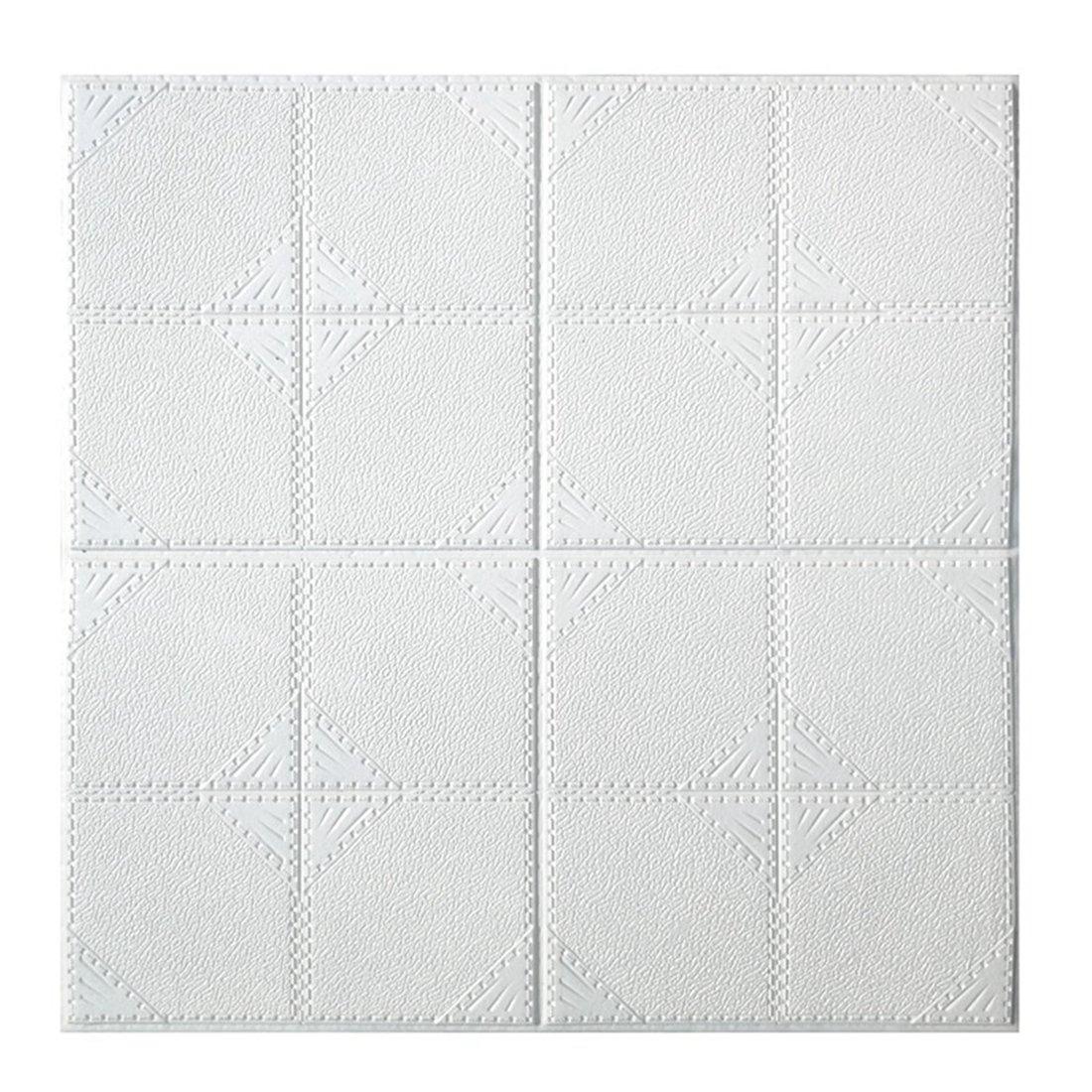 (Enerhu)3D壁紙パネル 3Dウォールステッカー DIY クッションブリック 壁紙シール 防水 防音 断熱 3D 自己粘着 装飾 軽量 発泡 おしゃれ インテリア リビング 子供部屋 多色選択 60*60cm 30枚入り ホワイト B07DS7Z4NV 60*60cm(30枚入り) ホワイト