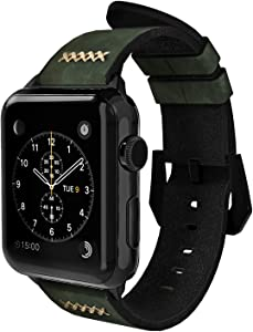 Gaze Leather Band Compatible with Apple Watch Band 38mm 40mm 44mm, Authentic Leather Replacement Strap Compatible with Apple Watch Series 5/4/3/2/1 (Green, 38mm / 40mm)