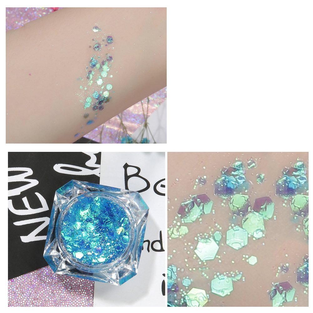 Body Glitter 6 Colors Holographic Chunky Glitter Long Lasting Fix Gel,COSMETIC GLITTER NEKOMI,Festival Beauty Makeup Face Body Hair Nails,Apply directly without glue by Nekomi (Image #6)
