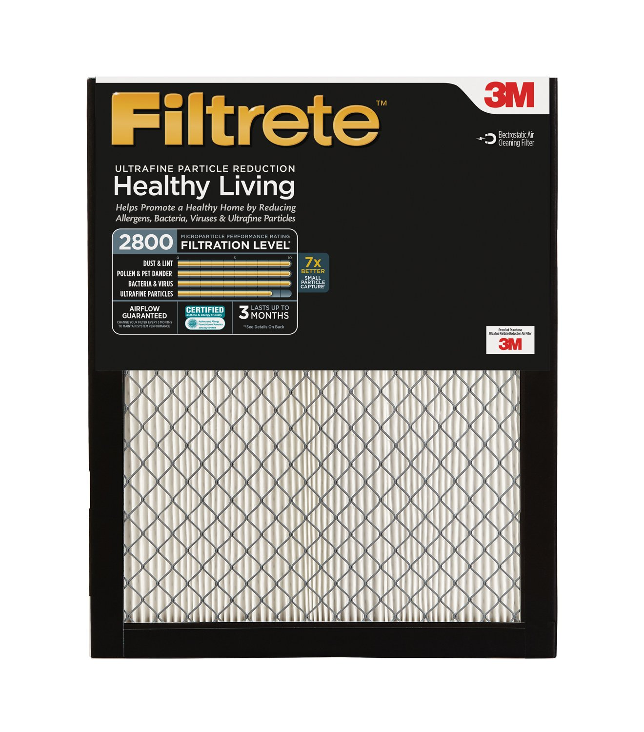 5. Filtrete 20x20x1, AC Furnace Air Filter, MPR 2800, Healthy Living Ultrafine Particle Reduction, 2-Pack