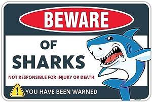 Venicor Shark Sign - 8 x 12 Inches - Aluminum - Shark Decor for Boys Room - Girls Shark Wall Decor - Kids Sharks Tank Products Toys Teeth Bowl Party Bathroom Decorations Posters Cool Art Gifts Stuff