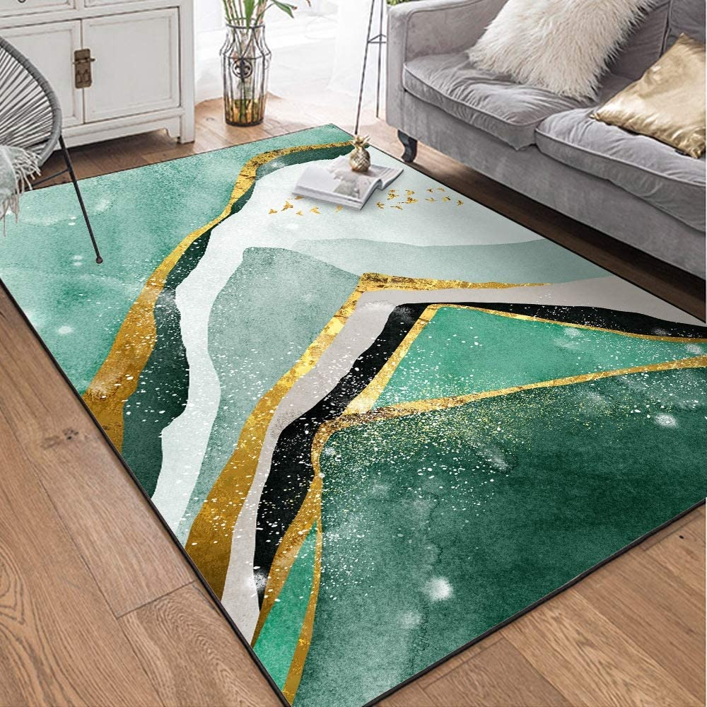 Fashion Rectangular Carpet Area Rugs Home Decor Abstract Dark Green Gold Door Mat Bedroom Living Room Bedside Carpet Mat Green 5 X8 Home Kitchen